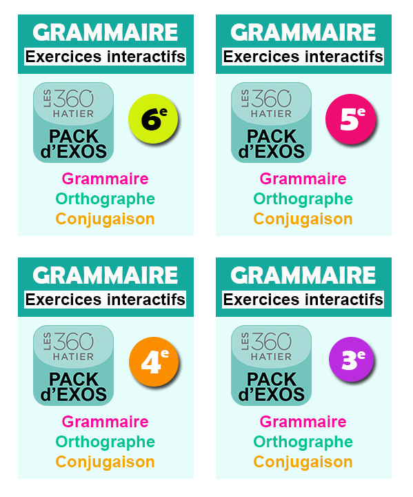 packs d'exercices Grammaire Collège